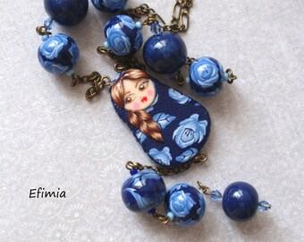 jewel matryoshka Russian doll pendant, Necklace blue white Russian doll matryoshka necklace