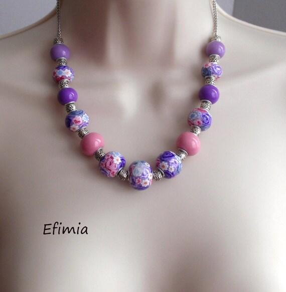 Collier Couleurs Rose Lilas Et Violet Compose De Perles Unies Etsy