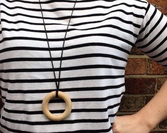 """Wooden teething ring necklace - pendant featuring organic untreated Canadian maple hardwood 2.5"""" ring hoop bead by Little Gnashers"""