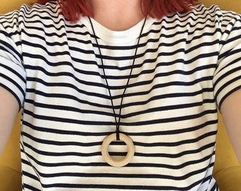 """Wooden 2"""" teething ring necklace - pendant featuring organic untreated Canadian maple hardwood ring hoop bead by Little Gnashers"""