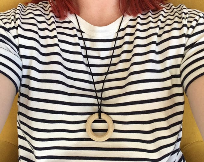 """Wooden teething ring necklace - pendant featuring organic untreated Canadian maple hardwood 2"""" ring hoop bead by Little Gnashers"""
