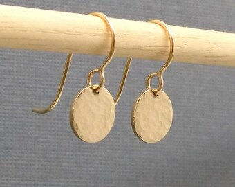 """Small Gold Earrings. Free Shipping. Gold Coin Earrings. Hammered Gold Earrings. Gold Filled. Everyday Simple Modern. Dainty. Minimal. 3/8"""""""