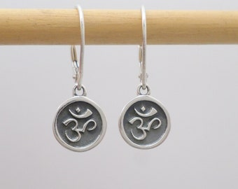 359f8ad5e Sterling Silver Om Earrings. Small Coin Lever Back Dangles. Lotus Zen Yoga  Meditation Jewelry. Oxidized. Yogic Chant Spiritual Path. 3/8