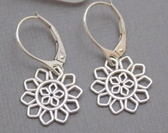 b135769b9 Small Silver Earrings. Free Shipping. Sterling Silver Sunflower Dangle.  Lever Back. Simple Dainty Delicate. Flower Botanical Nature. 1/2