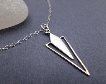 Silver Triangle Necklace. Free Shipping. Minimal Jewelry. Sterling Silver. Diamond Shape Necklace. Geometric Modern Unique. Inverted. 1 1/4""