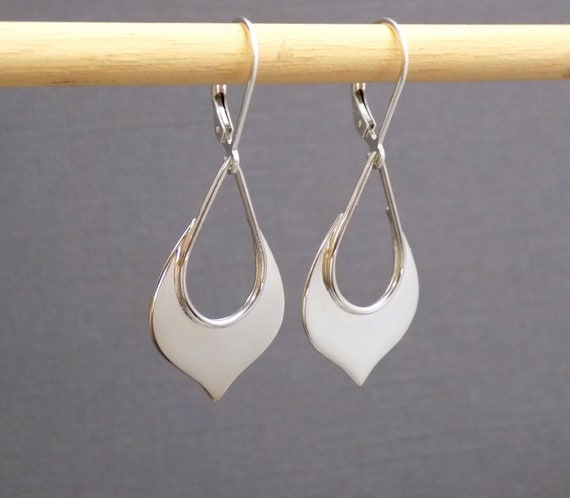"3D Puffed  Dangle Drop Heart Earrings French Wire 925 Sterling Silver 1 1//4/"""