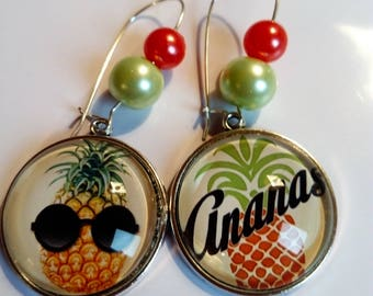Ethnic earring pendant is an original vintage chic green and orange pineapple