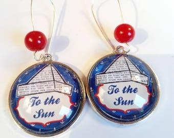 Ethnic earring pendant original collage marine Navy sea blue white red
