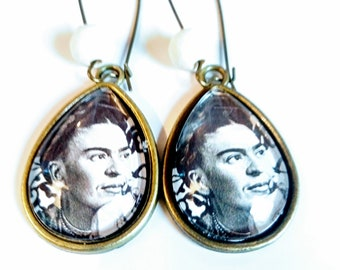 Drop earring, ethnic, original, vintage, frida kahlo, glass cabochon, bronze, colorful, gift, mother's day, art, painting