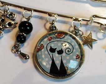 PIN or jewelry bag original cabochon blue black cat and birds