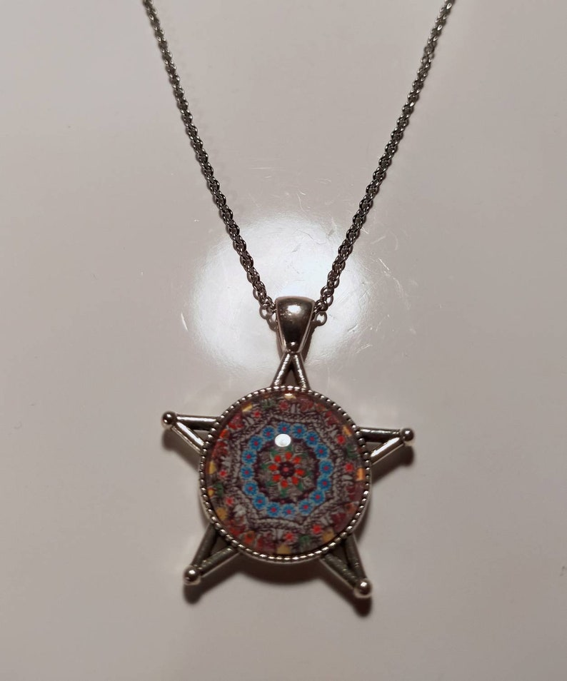 Christmas money glass, painting painting pendant Mother/'s Day star gift art chain colorful pendant Collar