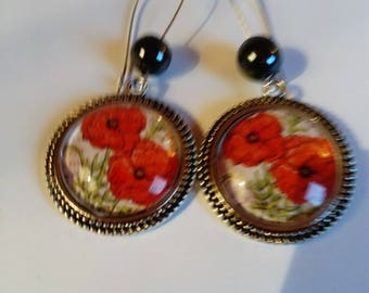earring dangle poppy flower cabochon