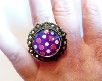 Ring adjustable bronze cabochon purple and pink polka dots