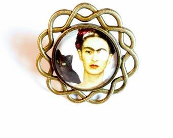 Ring adjustable bronze cabochon ethnic vintage frida kahlo cabochon glass