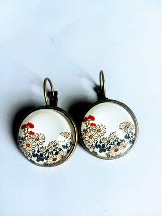 Earring, dangle, earrings, Japanese, ethnic, vintage, original, colorful, design, gift, mothers day, bronze, Christmas, mother