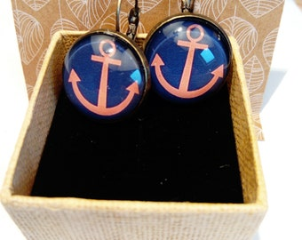 Earring stud earring ethnic original marine Navy sea anchor vacation travel smart vintage white blue Beach red blue white red