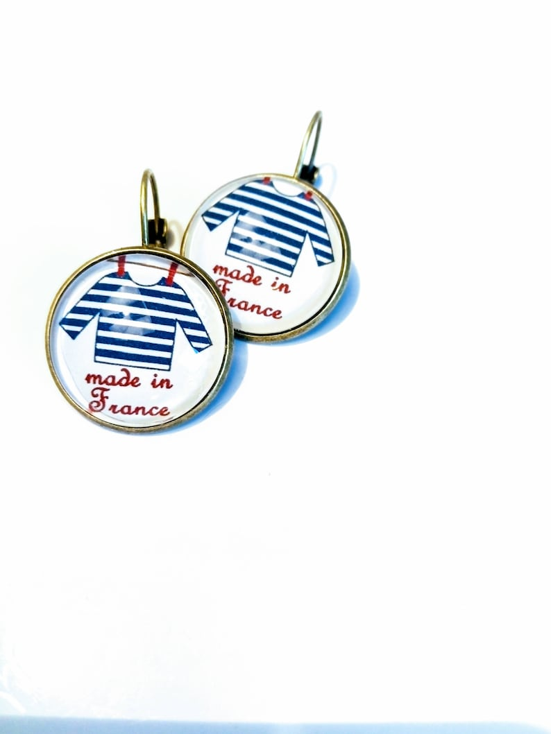 Earring ethnic sleepers original chic red white blue made in France bronze