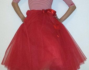Tulle petticoat 70 cm red