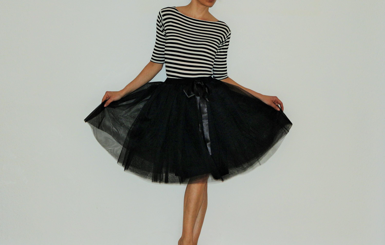 Tulle skirt/petticoat light black 60 cm