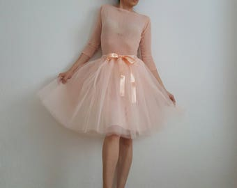 Tulle petticoat Light apricot pastel 55 cm skirt