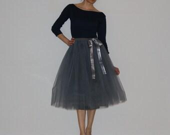 Tulle petticoat Light Anthracite-dark grey 70 cm skirt