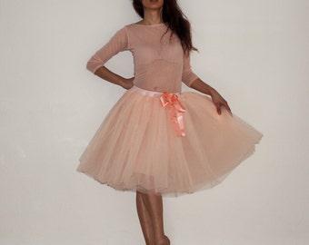 Tulle petticoat Apricot Pastel 55 cm skirt
