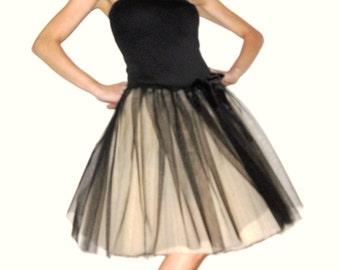 Tulle petticoat Champagne Black 55 cm skirt
