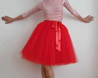 Tulle skirt/petticoat red 55 cm skirt length