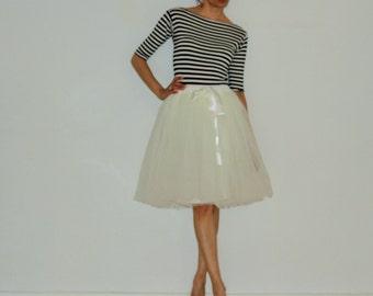 Tulle petticoat Cream Light skirt 55 cm