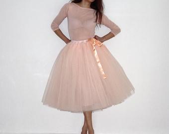 Tulle petticoat Apricot pastel skirt 70 cm