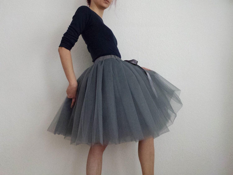 Tulle petticoat Anthracite-dark grey 55 cm skirt