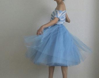 Tulle petticoat Water Blue 70 cm