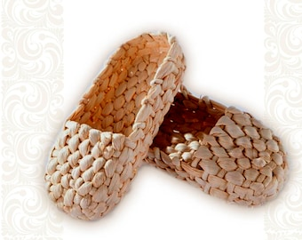 Straw shoes, Russian traditional footwear from reedmace, Russian traditional costume, ethnic footwear, country style, dances footwear, лапти