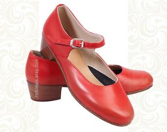 Women's Shoes for Dances, Woman Russian Dance Shoes, Black shoes, Red Shoes, Leather  shoes, Russian Dance Shoes, dance shoes
