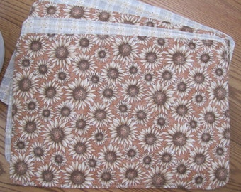 Reversible Sunflower print placemats - set of 4