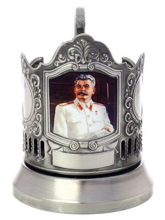 Exclusive Tea Cup Glass Holder Joseph Stalin The Head Of Ussr Soviet Union Plated With Blackening
