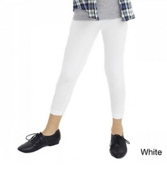 Cotton Spandex Ankle Length Leggings Yoga Pants Kids Size 2-14 32 Colors USA