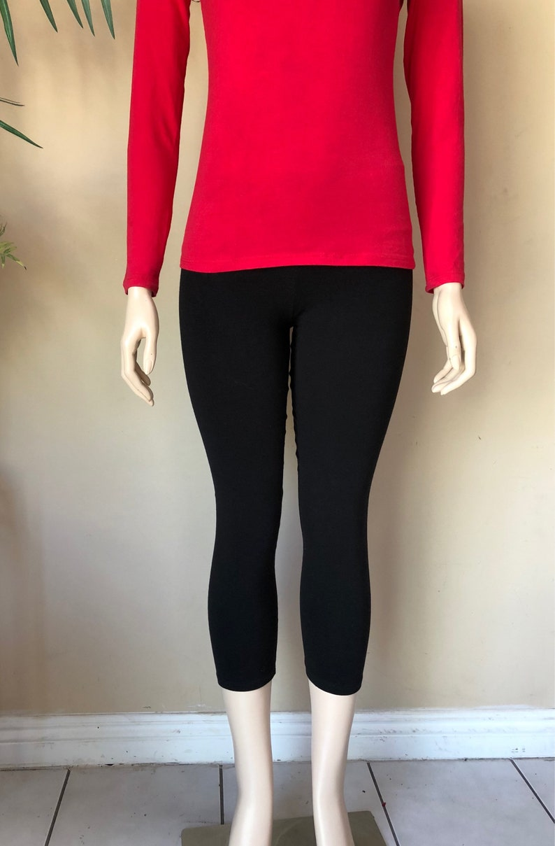 0539d0357c Women cotton spandex comfy yoga capris length crop leggings | Etsy