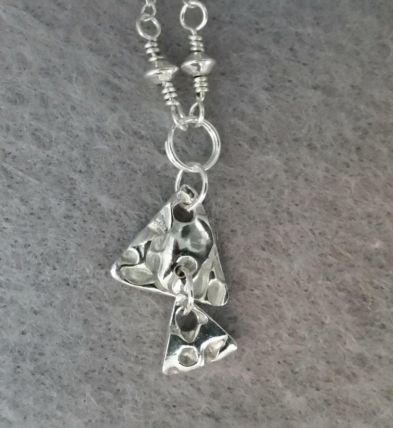 triangles chain silver pendant leaves Julia, necklace