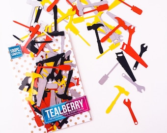 100 Piece -  Hardware Tool Confetti -  Hammer, Screwdriver, Saw, & Wrench - Ready to Ship