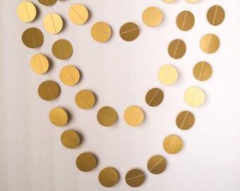 """Metallic Gold Paper Garland - 1 1/2"""" Circle - 10ft Garland - Ready To Ship"""