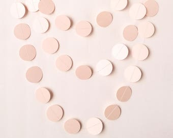 """CLEARANCE - Soft Pearl Pink Paper Garland - 1 1/2"""" Circles - 10ft Garland - Ready To Ship"""