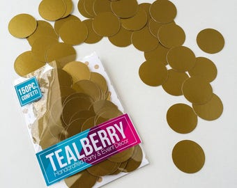 """CLEARANCE - 150 Piece 1 """" Circle Confetti In Semi Gloss Antique Gold  - Ready To Ship"""