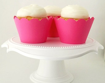 Set of 12 – Fuchsia Pink Cupcake Wrappers – Dark Pink - Standard Sized - Ready To Ship