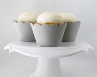 12 Light Gray Cupcake Wrappers   Standard Sized   Light Grey Cupcake Wrappers   Set of 12 - Ready To Ship
