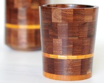 Walnut and Black Limba Vase