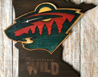 Minnesota Wild sign - solid wood - hand painted - ready to hang - BEST  SELLER 2f8181736f52