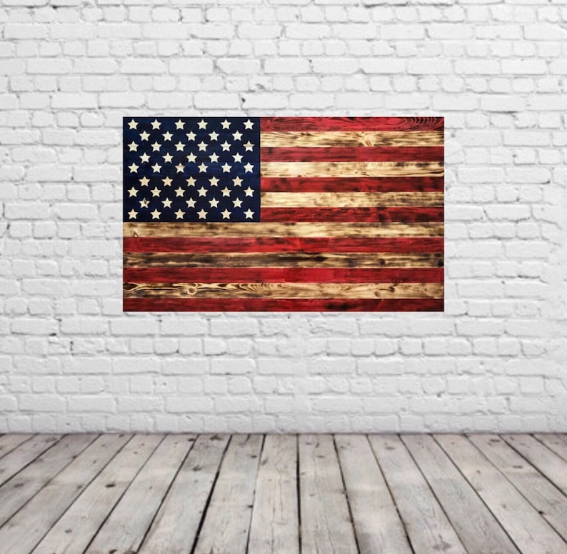 Custom Made Wooden American Flag Wall Hanging Painted Or Etsy