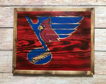 Hand-painted/Stained St. Louis Blues & St. Louis Cardinals wall decor