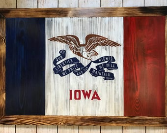 Hand painted State of Iowa wooden flag - ready to hang